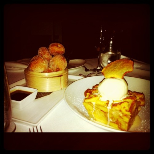 Mexican donuts w/ toffee filling + bread pudding w/ cheesecake ice cream (Taken with instagram)