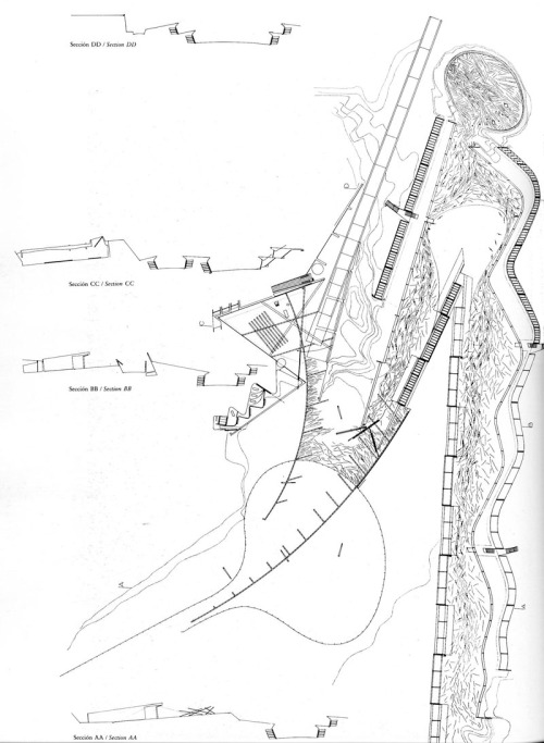The Architectural Plan as a Map. Drawings by Enric Miralles via The Funambulist  As architects, we unconsciously tend not to associate necessarily the plans we draw with the notion of map. However, both of those two objects register in the same process of cartographic creation and, in this regard, use a two dimensional language in order to create space. The architect that creates the most expressive ambiguity between the architectural plan and the map seems to be Enric Miralles (1955-2000).  What strikes in Miralles' plans is the importance of the line. That might seem a peculiar thing to say as lines are what characterize primarily architectural plans, but few architects actually express, via their plans, the power contained in those same lines.