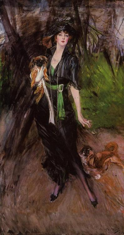 Lina Bilitis with Two Pekinese by Giovanni Boldini, 1913
