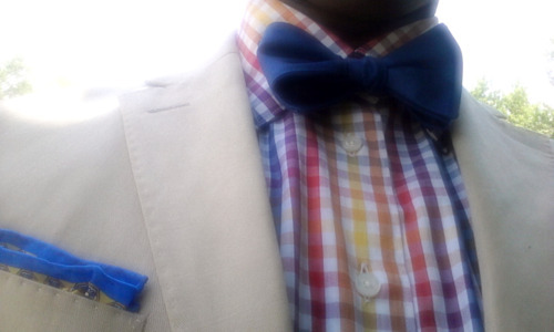Sartorial Sunday featuring Mr. Bentley Tailored Linen 2-button blazer - Banana Republic Multi-Colored Gingham/ hidden button down collar dress shirt - Bespoke Toscano (My own design) Silk Pocket Square - Hermes Navy Blue Cotton self-tie Bow Tie - Tommy Hilfiger Shout out to:introducingmrbently