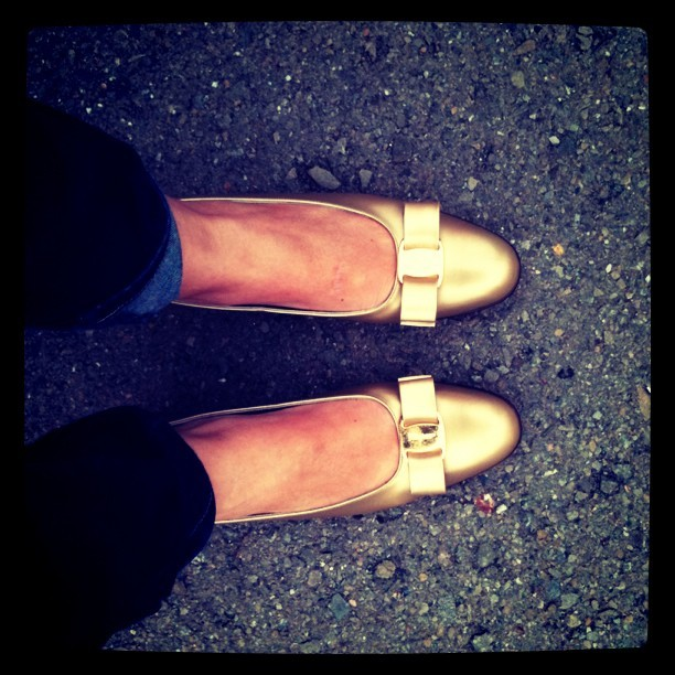matchbookmag:  The Matchbook girl…snatches up vintage Ferragamo's at the flea :) (Taken with instagram)