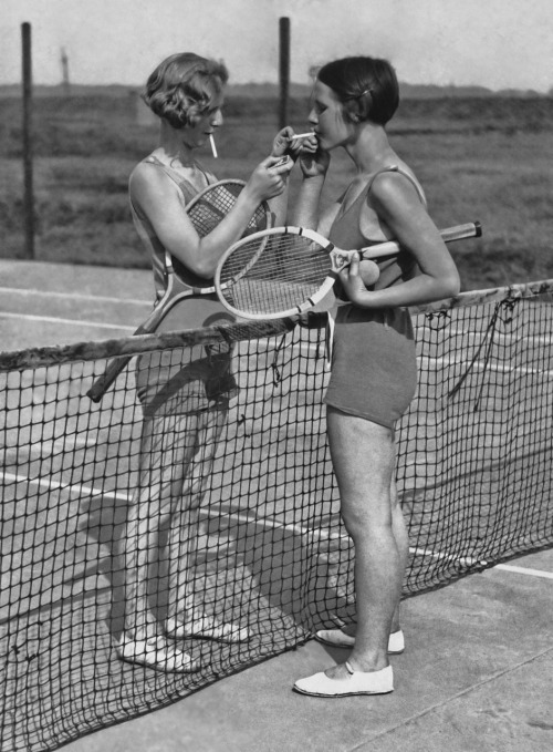 maudelynn:  tennis and a smoke c.1932