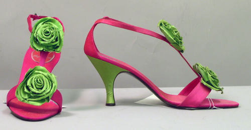 Neon evening shoes designed in by Roger Vivier for Dior, 1958.