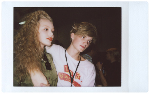 bloodfilledveins:  Frida Gustavsson & Charlie Westerberg backstage at Marc by Marc Jacobs S/S11