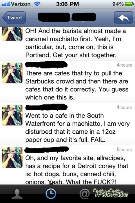"whitewhine:  ""…but, come on, this is Portland.""  Believe it or not, Australians (Melburnians in particular) are even snootier about their coffee."