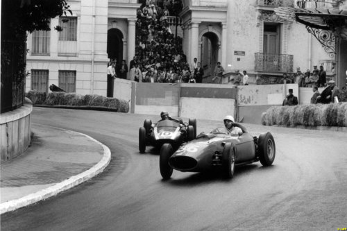 Phil Hill in his Ferrari 246 (1960) Monaco Grand Prix. Behind him is Bruce McLaren in the Cooper T53.