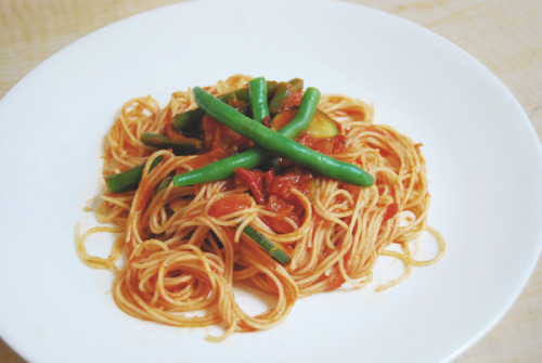angel hair roast garlic marinara with al dente vegies