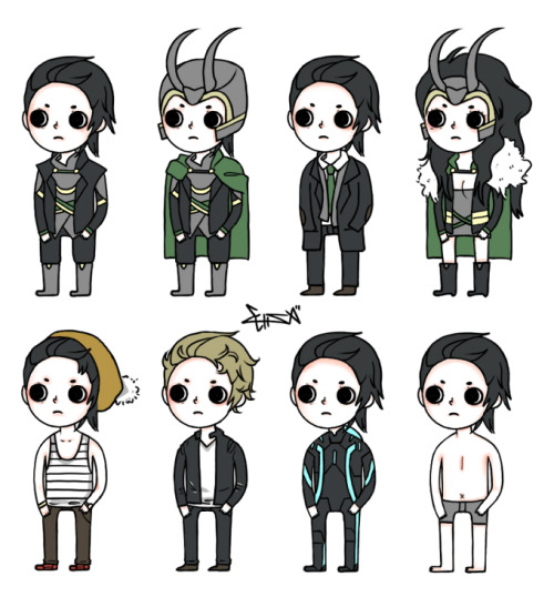THE MANY FORMS OF LOKI 1. asgard 2. fancy asgard 3. midgard 4. lady loki 5. hipster loki 6. tom hiddleston 7. tronified loki 8. nekked, I ran out of ideas. D: LOKI BATCH 2 for any more loki forms, just ask cause i'll be making another batch. and also I wanna start making prints, any good printing sites?