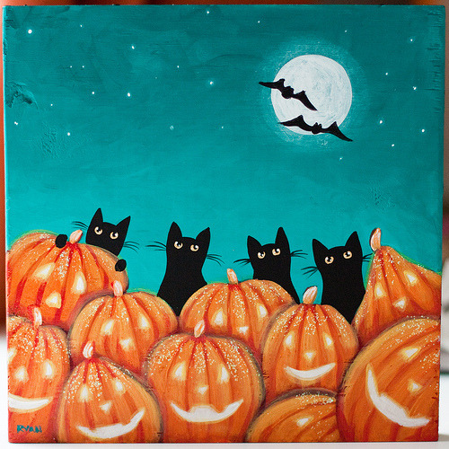 Cats and Jack O'Lanterns (by Kilkennycat)