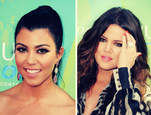 Kourtney and Khloe's hair and makeup for the Teen Choice Awards 2011.
