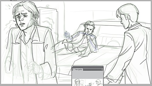 "Started blocking in the TARDIS and Impala some more.  Also working on Sam's ""please don't let it be who I think it is behind me"" look."