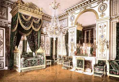 """Fontainebleau was a favorite retreat for Napoleon. The furniture had been either destroyed or sold during the Revolution. Napoleon had the palace restored and refurbished. The furniture for the 600 rooms was either taken out of storage or ordered from cabinet-makers such as Jacob-Desmalter. In 1808, the king's bedroom was altered into the throne room designed by Percier and Fontaine. The ""Grand salon"" and the Empress's bedroom were also decorated in the Empire style. Napoleon's suite was entirely remodelled and is the most spectacular Empire room. Pope Pius VII was held prisoner at Fontainebleau between 1812 and 1814. Napoleon spent his last days in the château before abdicating on April 6, 1814. Granted sovereignty over the island of Elba and a pension from the French government, Napoleon Bonaparte left Fontainebleau after his famous farewell speach on April 20th, 1814."" Chambre de Napoleon, Palais de Fontainebleau"