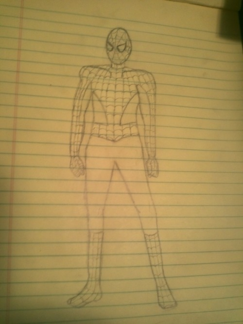 This time my drawing of Spiderman is all me :-) I been learning a lot from my drawing books but I'm still a noob