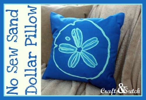 No Sew Sand Dollar Pillow. Using one of my favorite things (no, not sharpies!) the Clorox Bleach Pen. Found at Crafts & Sutch tutorial here. I also posted a great doodle Tee Shirt using the bleach pen here.