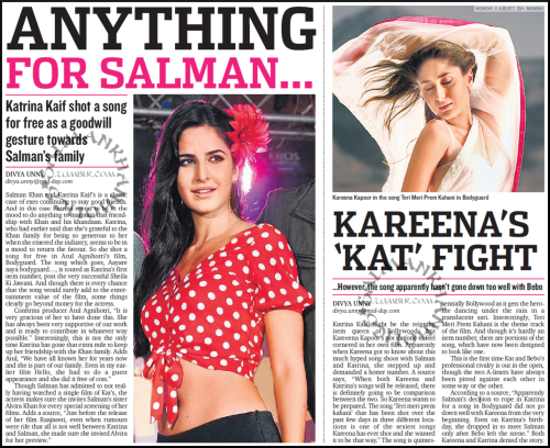 ★ (Two news) Kareena's 'Kat' fight + Anything for @BeingSalmanKhan, Kat shoots #Bodyguard title song as goodwill gesture towards Salman's family…!