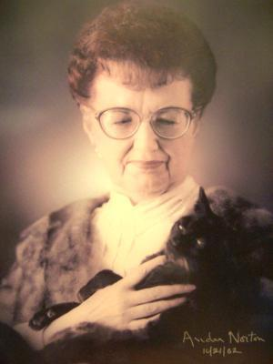 Andre Norton and her grandmotherish kitty.