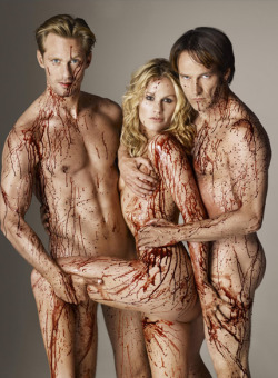 True Blood cast (Alexander Skarsgard, Anna Paquin and Stephen Moyer) by Matthew Rolston for Rolling Stone magazine.