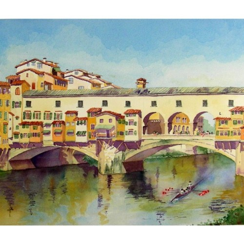 Italy Art Ponte Vecchio by WatercolorByMuren on Etsy