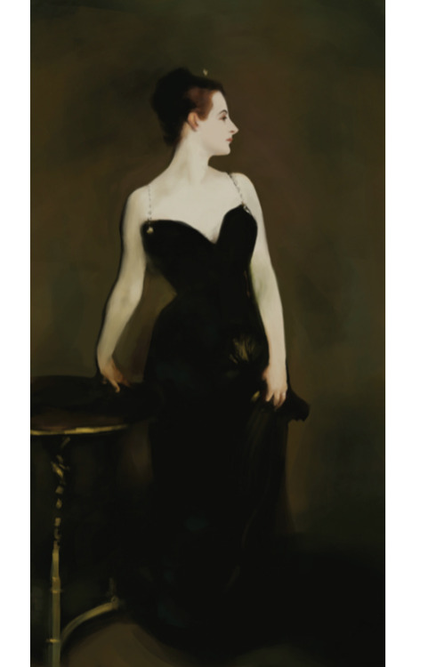 Madame X. John Singer Sargent study, digital. (Please click the image if it appears blurry. Sometimes tumblr does weird things to the resolution/aspect ratio.)