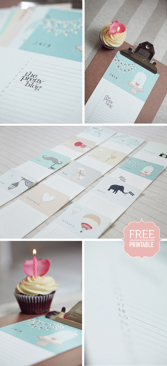 Free Printable: Birthday Calendar | The Pretty Blog As part of my 'Get Organised' revolution, I'm determined to remember everyone's birthday this year. Well, what's left of this year. This is such a gorgeous freebie, a nice way to have both a pretty art on your wall and keep organised!
