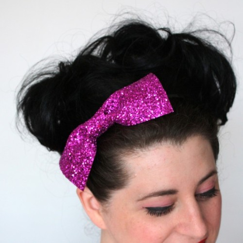 Hot pink glitter bow headband by janinebasil on Etsy