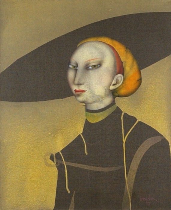 Paul Wunderlich Junge Dame mit Hut nach Lucas Cranach  Young lady with hat after Lucas Cranach . 1990th  oil on canvas.  link [+]  Paul Wunderlich   Portrait en buste d'une jeune femme, après Lucas Cranach. link