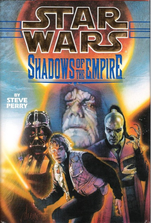 "Shadows of the Empire by Steve Perry (1996, Bantam) Shadows of the Empire is unique among Star Wars novels in that I can mention it to anyone with more than a casual interest in Star Wars and they know what I'm talking about, even if they don't read Star Wars books. It's also unique in that not everyone remembers it as a book. Many of the aforementioned folks to whom I mention Shadows will say ""I played that game non-stop when I was a kid,"" or ""Those were some really fun comics; Boba Fett is badass,"" or even, ""I collected that entire line of action figures.""  Shadows was a multimedia project that included, as mentioned above, a video game, comics, and a line of action figures. There was even a junior novel and a soundtrack. The full-length novel, which I would consider the centerpiece of the project, was written by Steve Perry:    No, not of Journey. This guy:    The book, as I'd wager everyone reading this knows, takes place between Empire and Jedi, and follows Luke, Leia, Chewie, Lando the droids, and a new character, Dash Rendar, filling the vacant ""surly smuggler"" role. While an attempt is made to rescue Han from Boba Fett's clutches in the early chapters, the primary action of the novel involves the group's entanglement with Prince Xizor (that's Shee-zor, not Zy-sor, as I've often heard). Xizor is the leader of a galaxy-wide criminal empire known as Black Sun, and a competitor with Darth Vader for the Emperor's favor.  Leia eventually falls into Xizor's clutches, and the book culminates in a straightforward ""rescue the princess"" plot, but, as in the movies, Leia never devolves into a helpless damsel. She does, however, look exactly the same as Carrie Fisher's character from the 1987 B-movie, The Time Guardian.    Shadows is an attempt to explore the previously unexplored year between the latter two installments of the Star Wars trilogy, and it is successful in doing so. Perry gets into Vader's head and gives the reader a feel for the Dark Lord's ""weakness"" as an imperfect servant of the dark side. We witness Luke's transition from confusion and disillusionment at the end of Empire to the quiet self-assurance he possesses in Jedi.  The exploration of these existing characters is the most effective element of the book, but the new characters are welcome additions. Dash manages to not be too much like Han and Xizor is serviceably evil. Even Xizor's human replica droid assistant, Guri, gets an interesting confrontation with Luke in the novel's climax.  These elements, along with a seamless tonal blend of Empire and Jedi, make Shadows of the Empire a thoroughly enjoyable Star Wars novel, a great gateway into the expanded universe, and all-around recommendable."