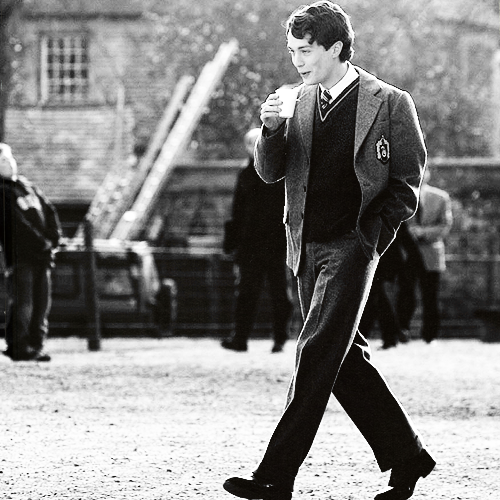 Tom Riddle casually enjoying his morning latte.  shows up 15 minutes late to the chamber of secrets with starbucks