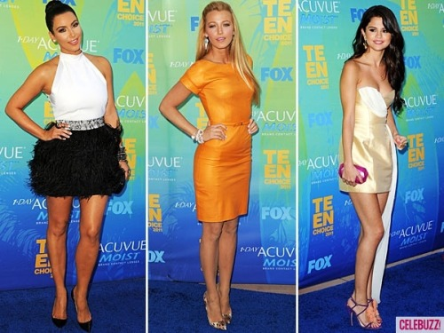 The Teen Choice Awards were in full force last night and Blake, Kim & Selena brought their style A-game. Which beauty looked the best?