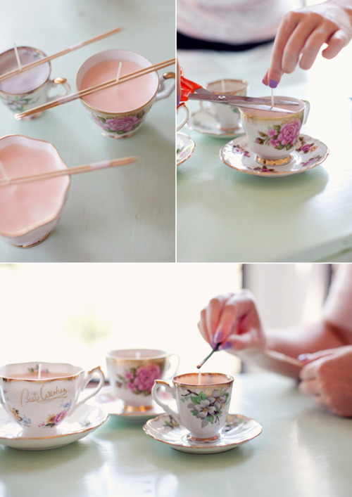 I have always been obsessed with teacup candles. I have been wanting to make one for years! One of my favorite wedding sites, Hey Gorgeous, has recently posted a tutorial with lots of clear instructions on how to do it! Check it out, click through for the tutorial!