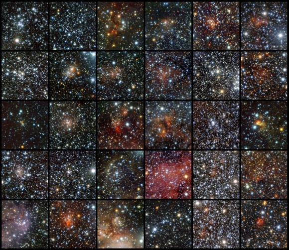 "moderation:  96 New Reasons To Love Star Clusters ""Ninety-six clusters of stars in the sky…. Ninety-six clusters of stars… You take one down and pass it around…"" Do you need ninety-six new reasons to love astronomy? Then you're going to want to hear about all the new discoveries the VISTA infrared survey telescope at ESO's Paranal Observatory has made. Read on…   An international team of astronomers has taken observations to the next level with their discovery of 96 new star clusters which have been hidden behind the dusty cloak of interstellar matter. By utilizing sensitive infrared detectors and the world's largest survey telescope, the intrepid crew set a new record for finding so many faint and small clusters at one time. ""This discovery highlights the potential of VISTA and the VVV survey for finding star clusters, especially those hiding in dusty star-forming regions in the Milky Way's disc. VVV goes much deeper than other surveys,"" says Jura Borissova, lead author of the study. (via universetoday)"