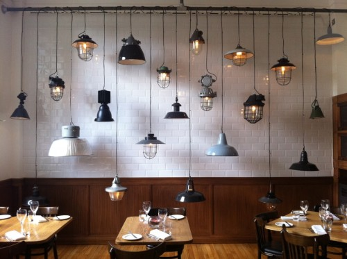 I think I need a room with subway tiles and multiple awesome hanging light fixtures.  hellofuturehouse:  (via » The Corner Room by Nuno Mendes The Skinny Bib)