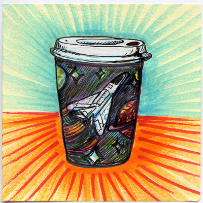 "I drew you a space inspired doodle cup of coffee It's a heavily decorated white cup of coffee with a space inspired theme. Hope you like it. This is part of my ""The Daily Coffee"" marker drawing series."