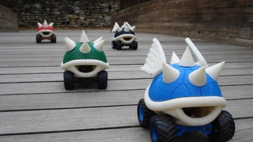 albotas:  3D Printable R/C Koopa Shells. You can download the schematics for free over at Thingverse, and then proceed to chase your neighbors, children, and small animals for hours of fun. Cool little projects like this always make me wish I wasn't too lazy/afraid of failure to make my own 3D printer. Maybe one day… (via Gizmodo)
