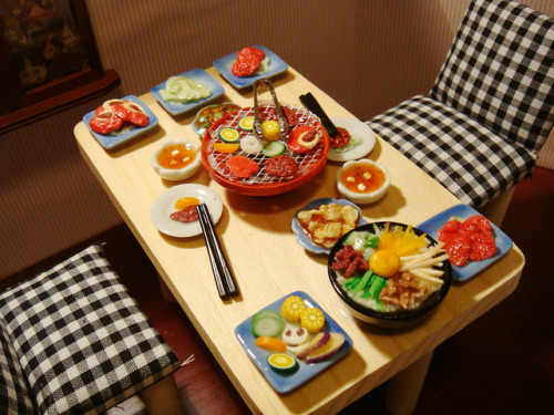 Custom Order - Korean BBQ Dinner Set by P's Design Miniatures on Flickr. mmm… that looks yummy!