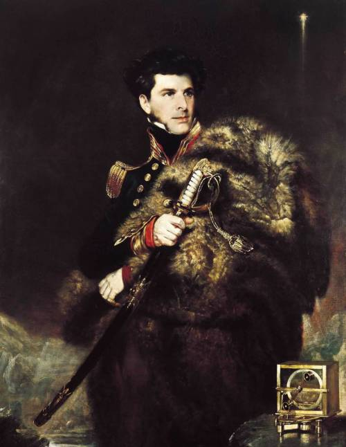 cobblerofmessina:  adventures-of-the-blackgang:  Sir James Clark Ross - beside him is a dip circle designed by Robert Were Fox, and used by Ross to discover the magnetic south pole. Artist: Wildman, John R.; 1834 full resolution‎ (1,936 × 2,500 pixels) (15 April 1800 – 3 April 1862), was a British naval officer and explorer. He explored the Arctic with his uncle Sir John Ross and Sir William Parry, and later led his own expedition to Antarctica. Between 1819 and 1827, Ross took part in four Arctic expeditions under Sir William Parry, and in 1829 to 1833, again served under his uncle on Sir John's second Arctic voyage. It was during this trip that they located the position of the North Magnetic Pole on 1 June 1831 on the Boothia Peninsula in the far north of Canada. It was on this trip, too, that Ross charted the Beaufort Islands, later renamed Clarence Islands by his uncle.   In 1834, Ross was promoted to captain, and from 1835 to 1838, he was employed on the magnetic survey of Great Britain.
