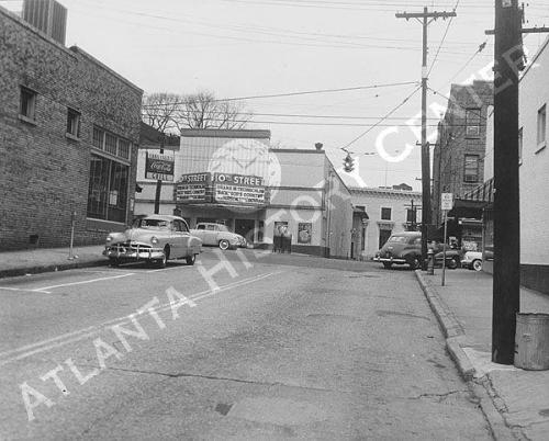 1954 view of 10th Street looking west just before its intersection with Peachtree Street. Midtown Atlanta (via Atlanta History Center Album. Tenth Street)