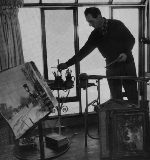 beautyandterrordance:  Peter Cushing was also an artist, skilled in drawing and painting. As a young struggling actor, he supplemented his income by selling scarves that he hand-painted, and later, as an established actor, had showings of his watercolors. (via)