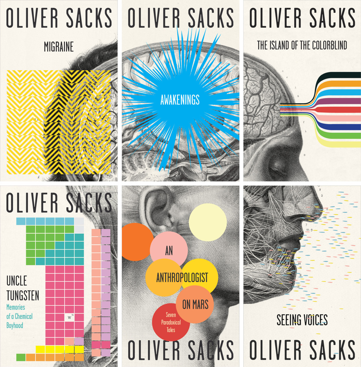 New cover designs for Oliver Sacks' books, by Carbon Web. (Via The Beautiful Brain)