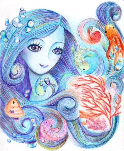 cheesekeki:  view my artwork @ deviantart.com Sea Princess, protector of all the sea creatures.