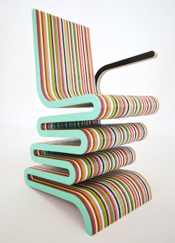 Mr Smith the Second is a multi-colored laminated beech chair by UK furniture designer Anthony Hartley.