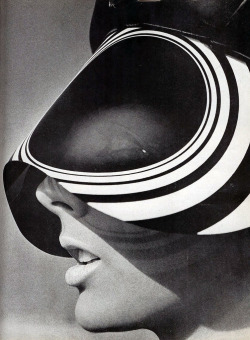 Harper's Bazaar, February 1966Photographer: HiroModel: Tilly Tizzani Sun visor by Optico