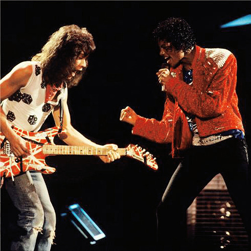 awesomepeoplehangingouttogether:  Eddie Van Halen and Michael Jackson