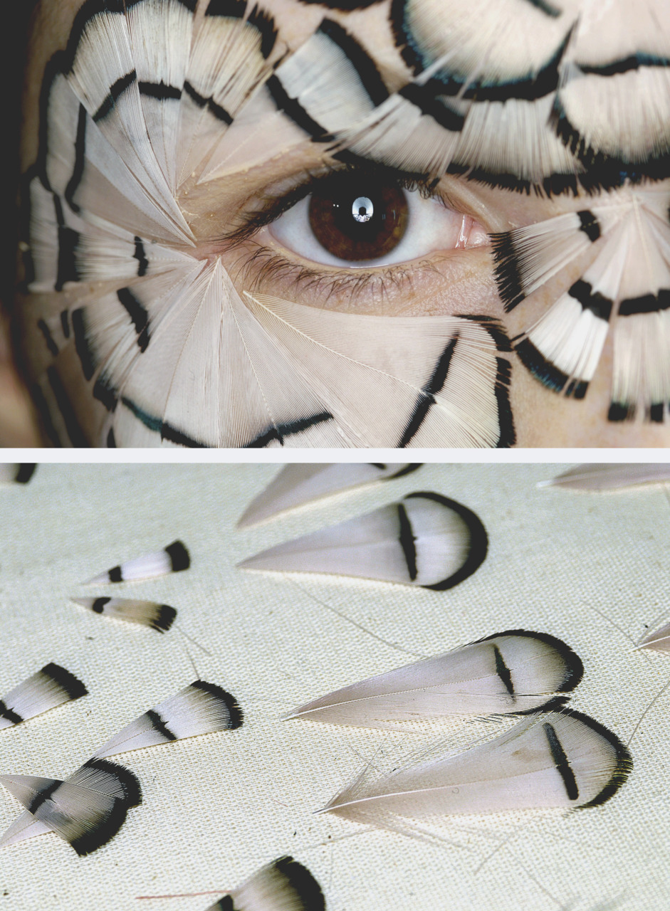 Feathers glued onto model's face backstage at Alexander McQueen S/S 2008
