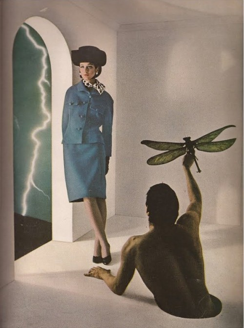 maliciousglamour:  Next Stop: The MoonHarper's Bazaar, July 1964Photographer: Melvin SokolskySuit by Geoffrey Beene  More sharp 60s suits from Beene.