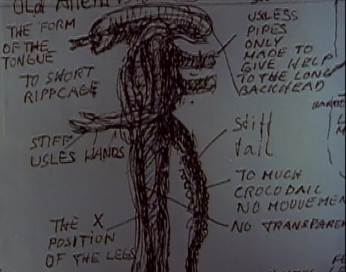 H.R. Giger's notes on the alien costume via notiontart