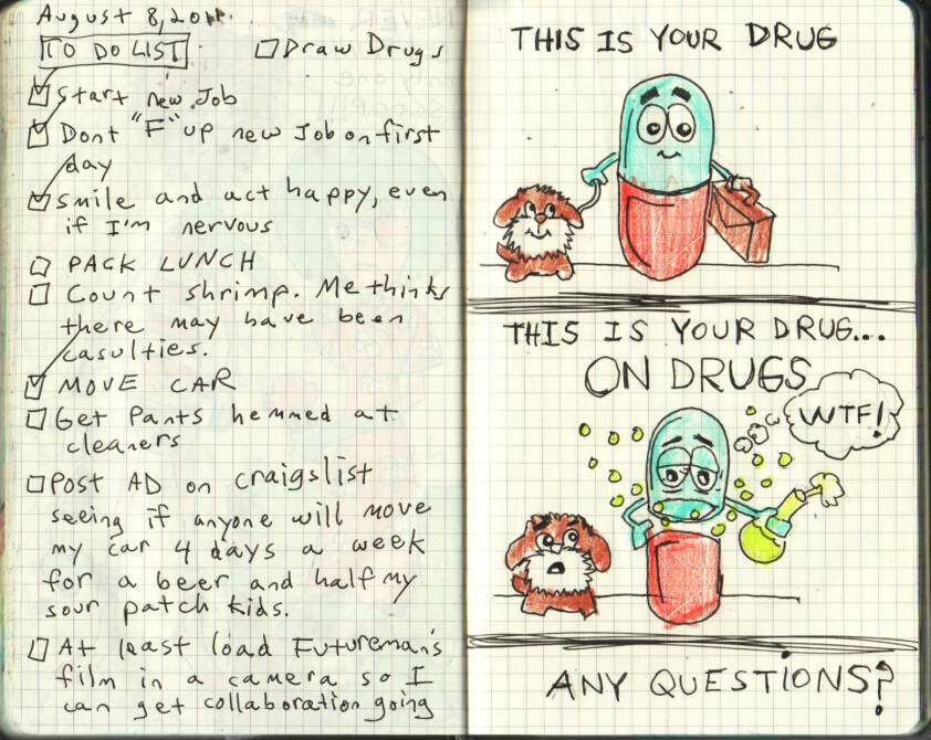 MY JOURNAL ENTRY OF THE WEEK: THIS IS YOUR DRUG ON DRUGS I liked this one best because it throws a spotlight on an issue that our society likes to sweep under the carpet and ignore. That issue is drugs abusing drugs. It's a messed up situation that is probably happening in your medicine cabinet right now. Seriously, go check, I'll betcha anything that your Advil is downing a mouthful of Listerine laced with Tylenol PM.
