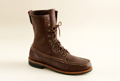 "J.Crew Russell Moccasin Co. Imperial Boots ""The Russell MOccasin Co.'s Imperial Boots for J. Crew are traditional handcrafted bird-shooting boots with true to form moccasin construction just as they were made over 100 years ago.     Every last detail on these rugged, good-looking and highly water-resistant boots was handpicked by our design team, which worked closely with Russell to design a truly customized pair of boots."""