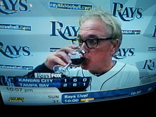 sportscentr:  Hipster manager Joe Maddon isn't allowed to drink his preferred Pabst Blue Ribbon after games, thanks to MLB's sponsorship deal with Budweiser. Instead, he went with a 2007 Altamura Cabernet Sauvignon, which is kind of an indie wine, you've probably never heard of it. oldtimefamilybaseball:  fuckyeahrays:  Let's just celebrate this walk-off win with Papa Maddon. Have I mentioned how much I love this man?  Drinking wine spo-dee-odee, drinking wine.