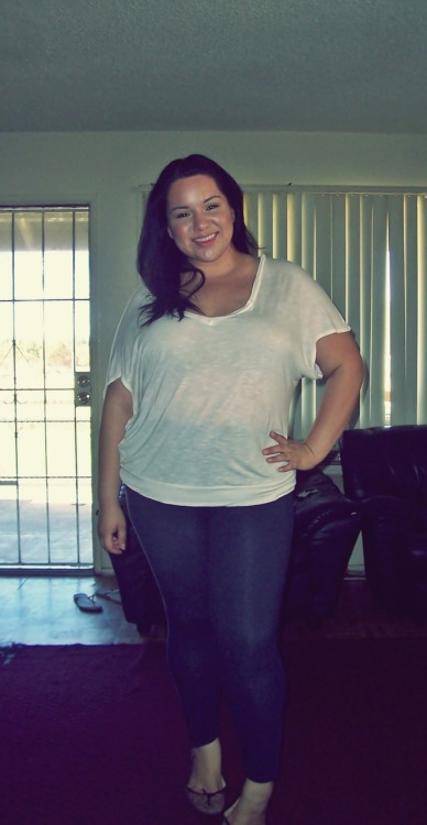 Hello chubby beauties! If it wasn't for this blog, I don't know how uplifted my chubby fashion spirit would be.  I know it's a lot of work ladies, but thank you for keeping this up! I was feeling so cute in this outfit today.  I'm a US size 16/18 The top I got from a local plus size store - XL -  Leggins are from Kohl's - XL-  and the shoes are from Kohl's too. throwthemadnessaway submitted